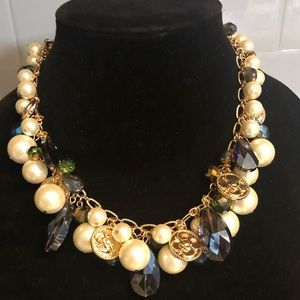 iNC pearl and multi stone stainless steel necklace